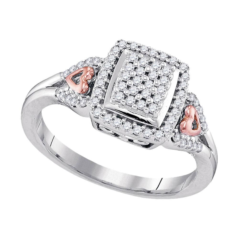 Diamond Square Cluster Heart-accent Ring 10kt Two-tone Gold