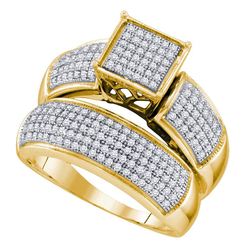 Diamond Cluster Bridal Wedding Engagement Ring 10kt Yellow Gold
