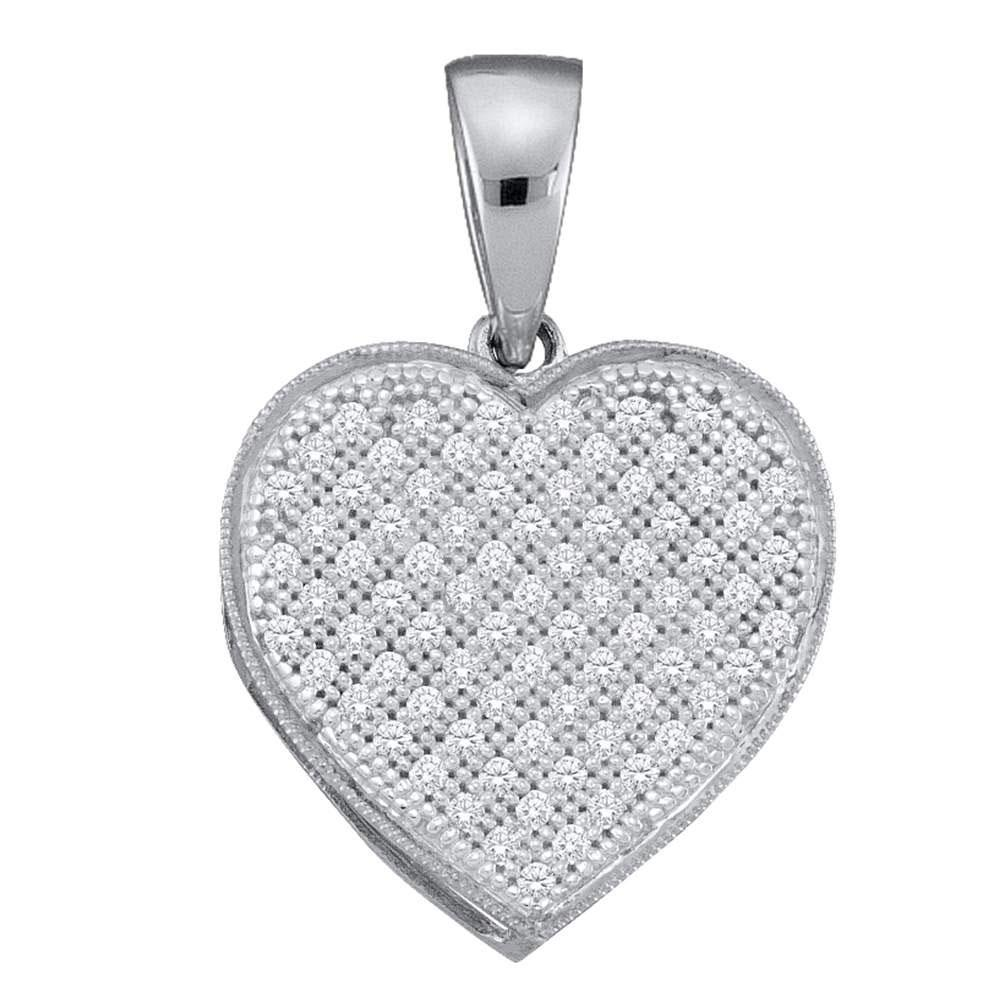 Diamond Simple Heart Cluster Pendant 10kt White Gold