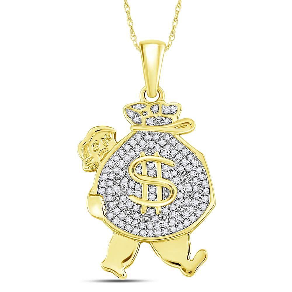 Mens Diamond Money Bag Man Charm Pendant 10kt Yellow Gold