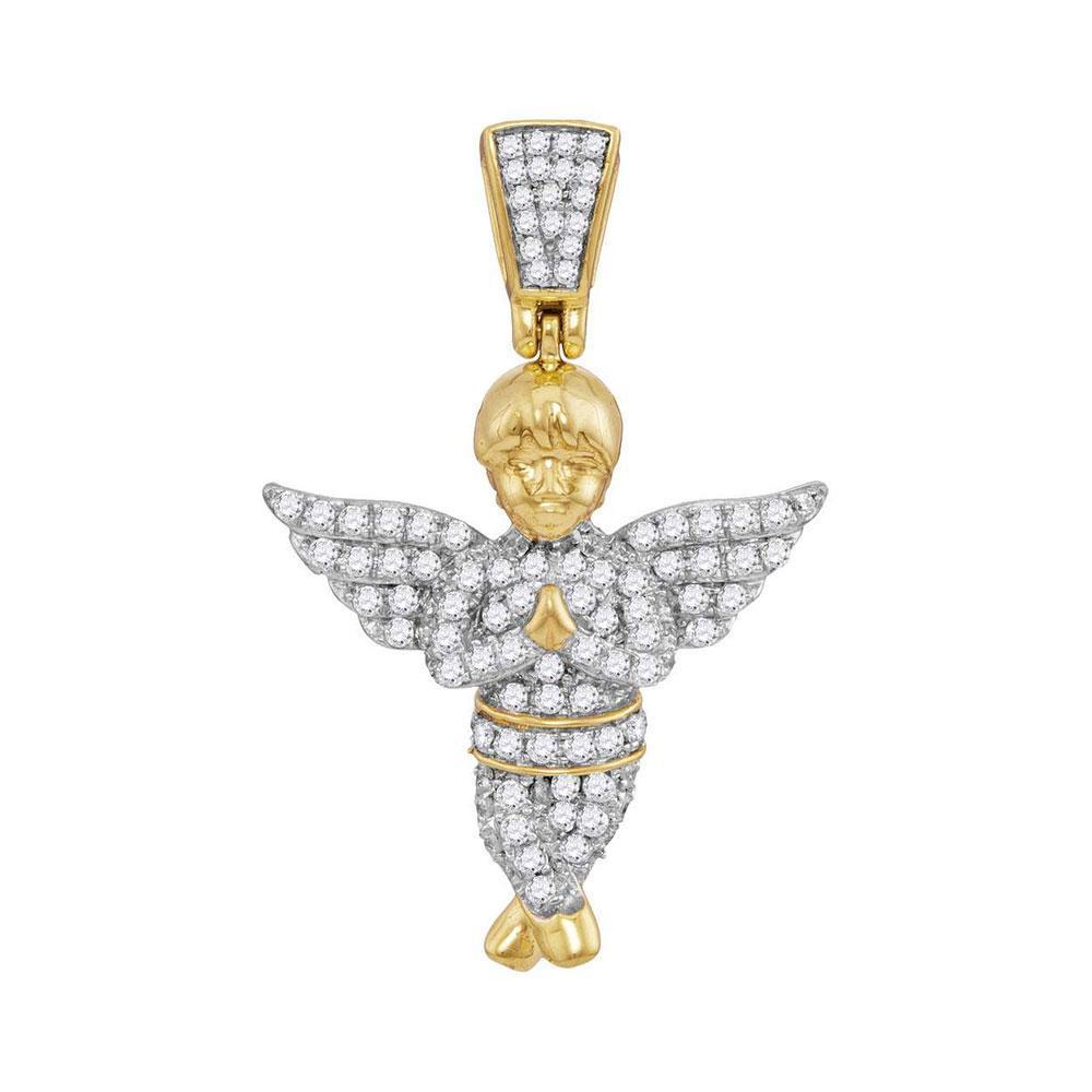 Mens Diamond Guardian Angel Charm Pendant 10kt Yellow Gold