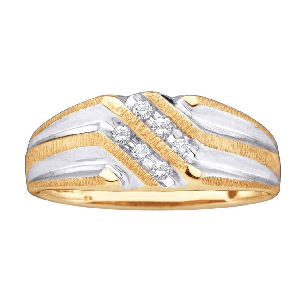 Mens Diamond Double Row Two-tone Ridged Wedding Band 10kt Yellow Gold