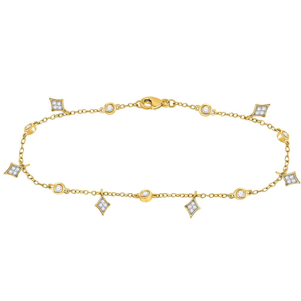 Diamond Dangle Fashion Bracelet 10kt Yellow Gold