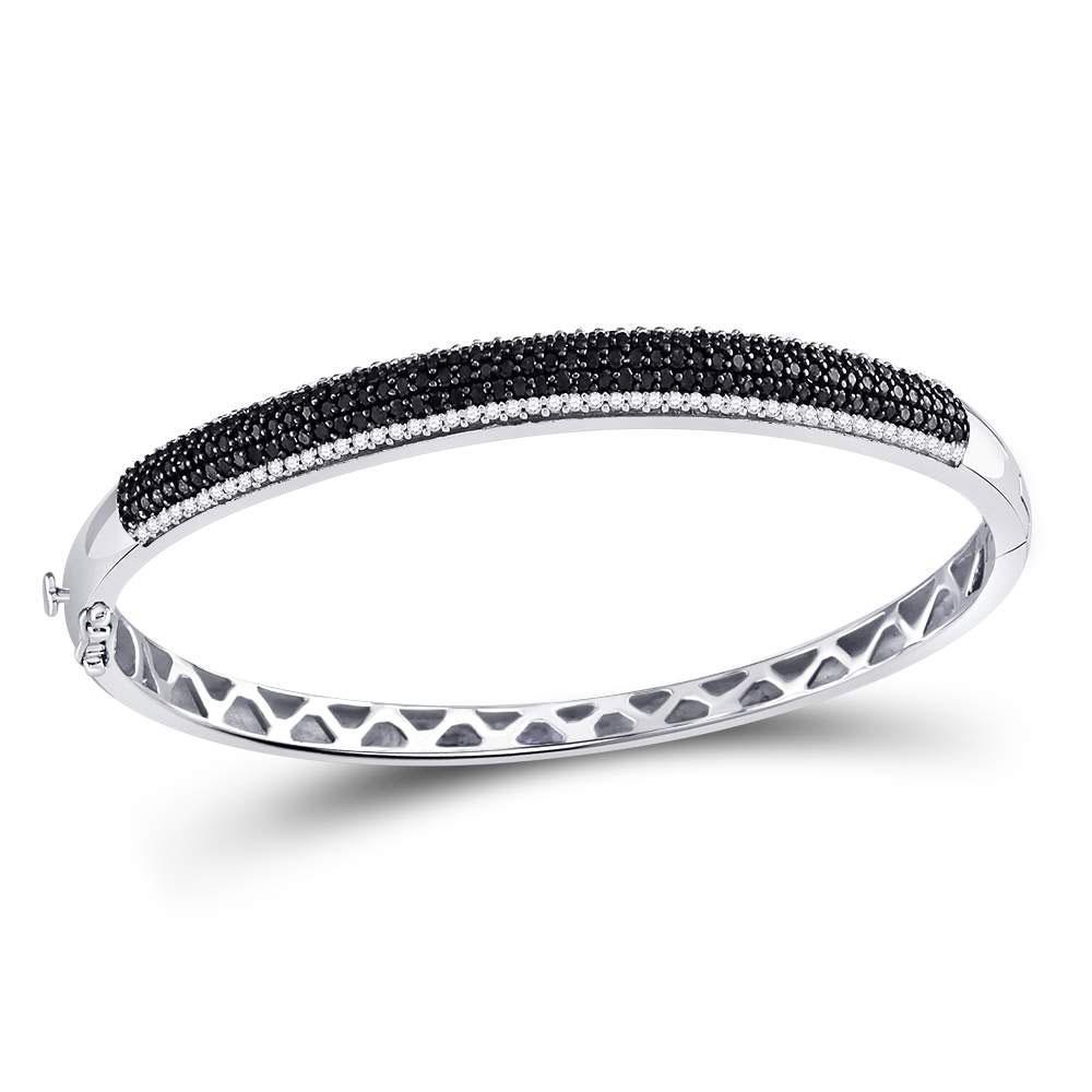 Black Color Enhanced Diamond Bangle Bracelet 14kt White Gold