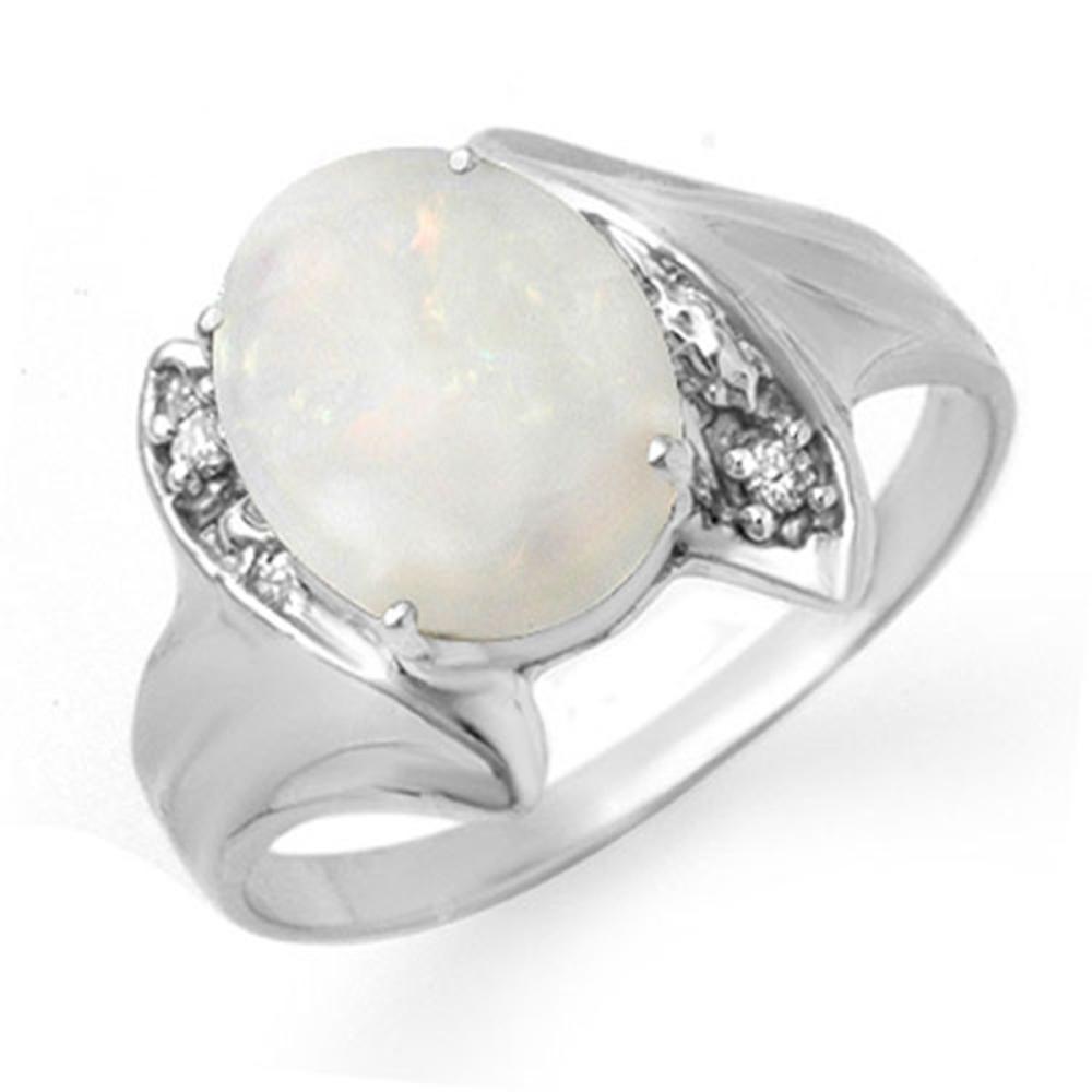 0.93 CTW Genuine Opal & Diamond Ring 10K White Gold