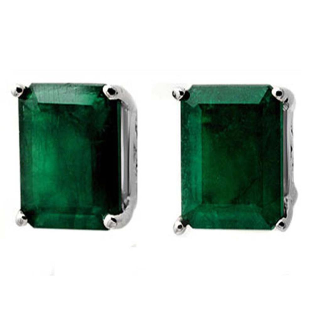 2.60 CTW Genuine Emerald Earrings 18K White Gold