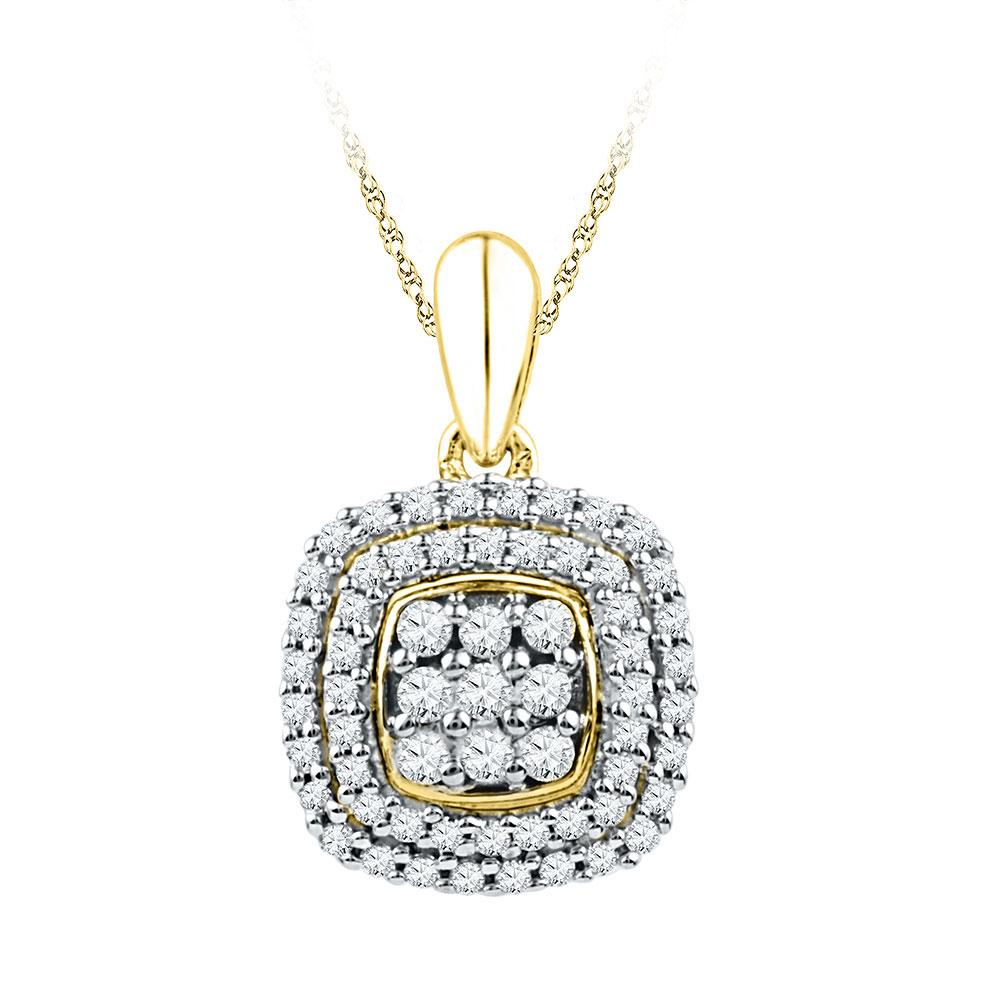 Diamond Cluster Double Frame Square Pendant 10kt Yellow Gold