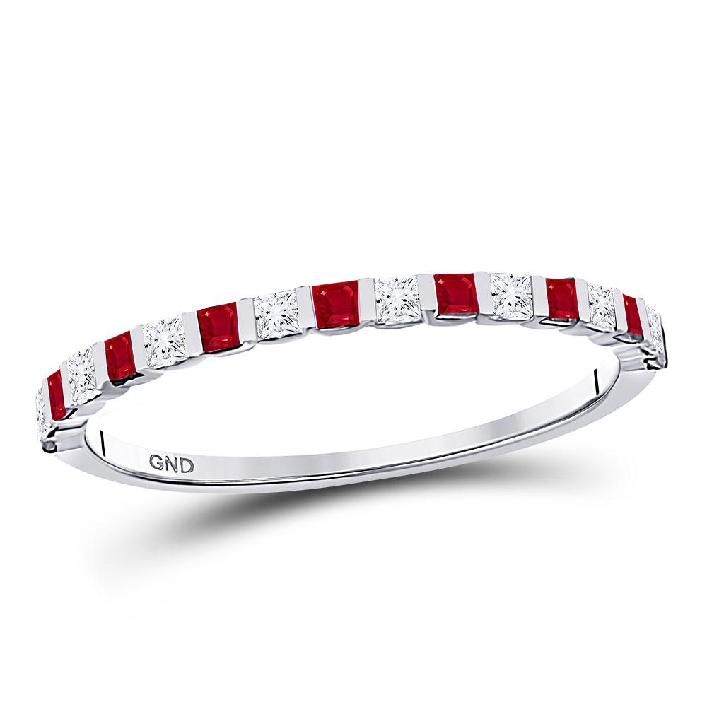 Princess Ruby Diamond Alternating Stackable Band 10kt White Gold