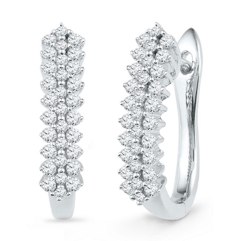 Diamond Oblong Hoop Earrings 10kt White Gold