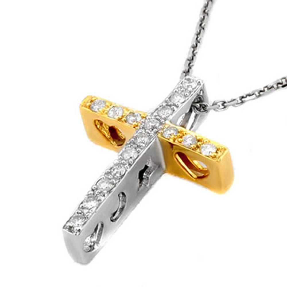 0.17 CTW Genuine SI1-SI2 Diamond Necklace 10K 2-Tone Gold