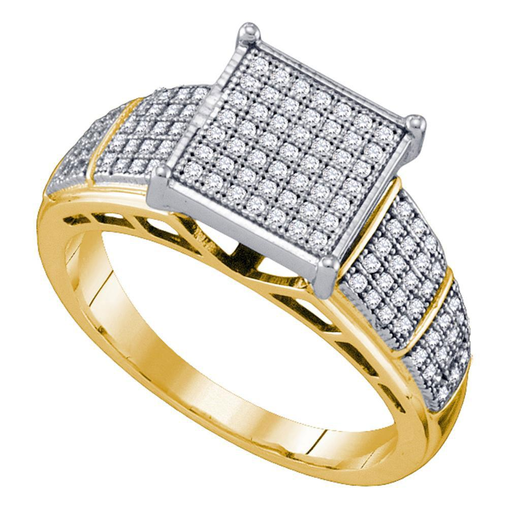 Diamond Elevated Wide Square Cluster Ring 10kt Yellow Gold