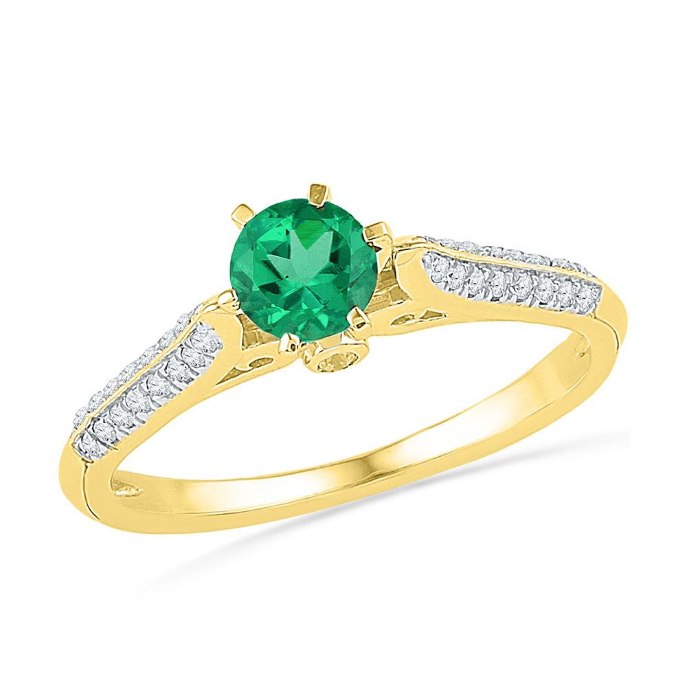 Lab-Created Emerald Solitaire Diamond Ring 10kt Yellow Gold