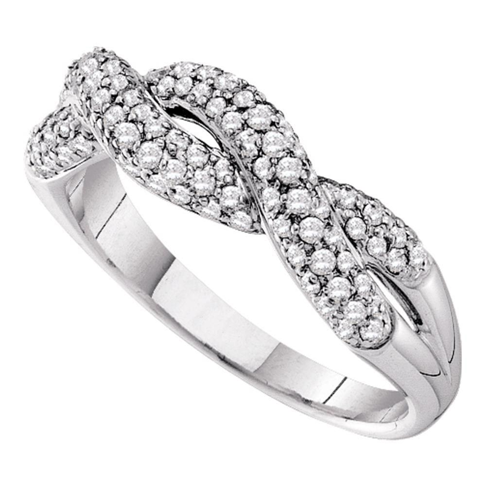Diamond Woven Twist Crossover Band 14kt White Gold
