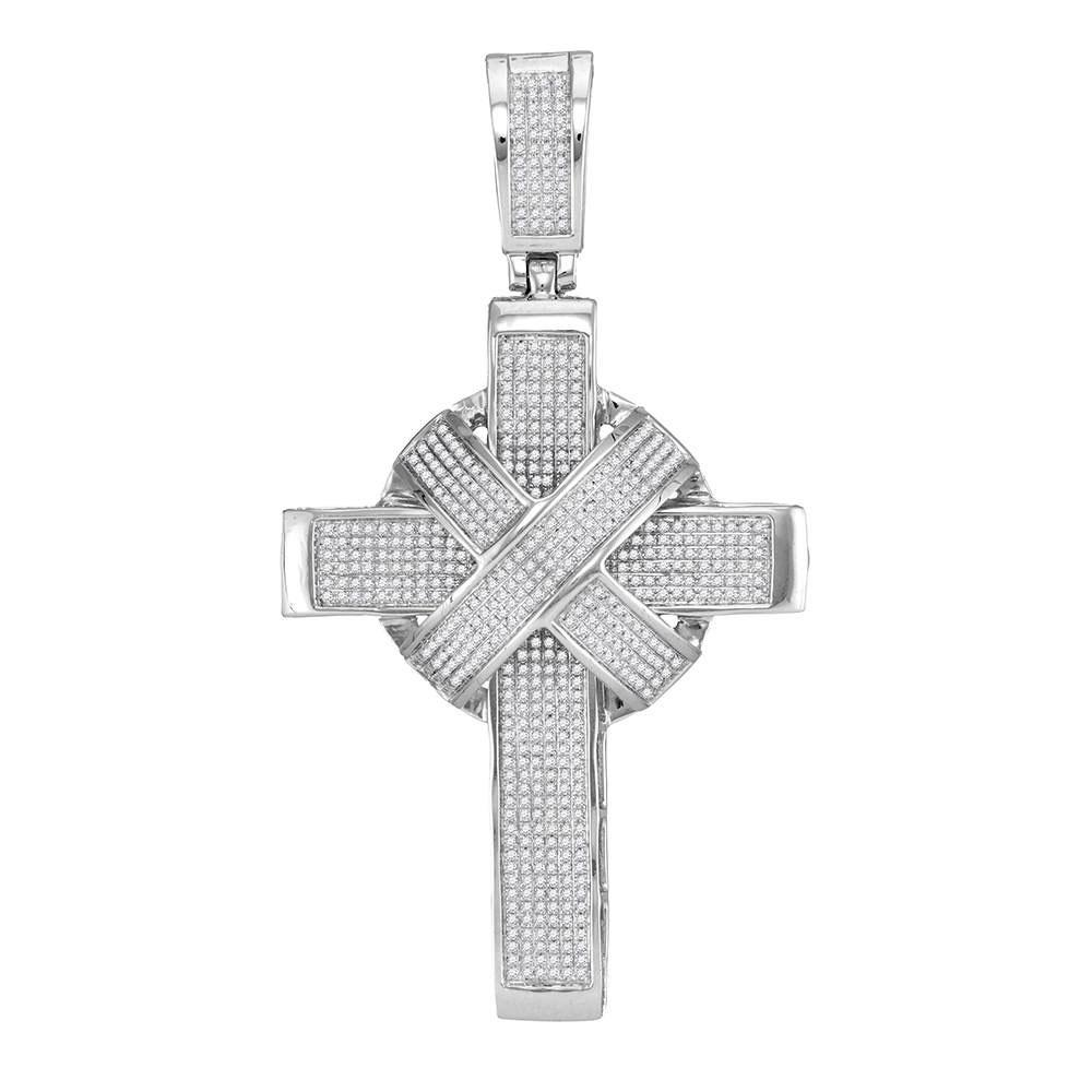 Mens Diamond Bound Roman Cross Charm Pendant 10kt White Gold