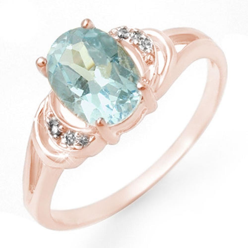 1.06 CTW Genuine Blue Topaz & Diamond Ring 14K Rose Gold