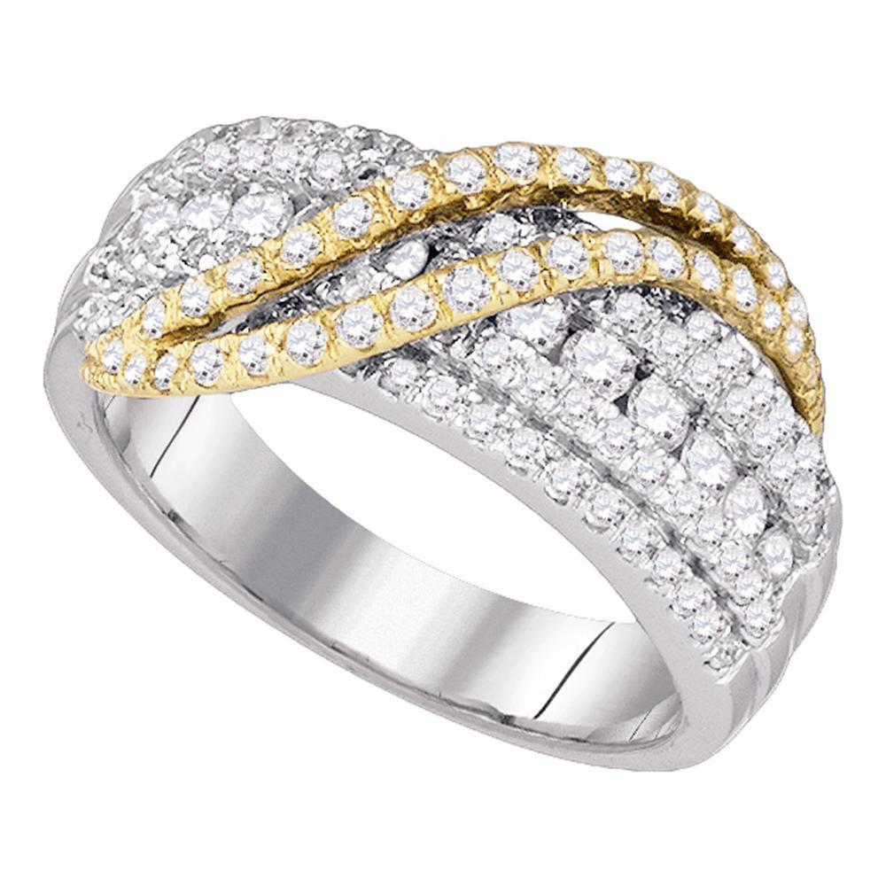Diamond Yellow-tone Crossover Stripe Band 10kt White Gold