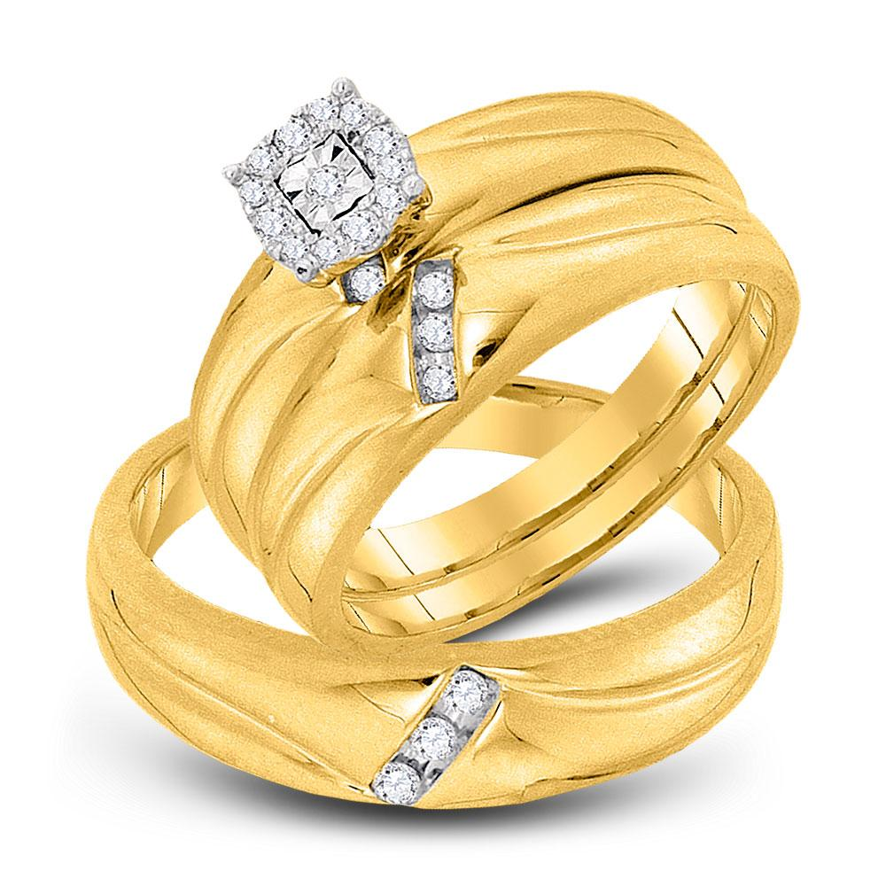 His & Hers Diamond Solitaire Matching Bridal Wedding Ring 10kt Yellow Gold