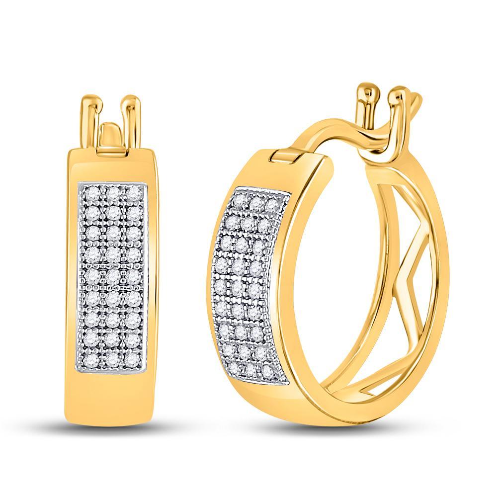 Diamond Triple Row Hoop Earrings 10kt Yellow Gold