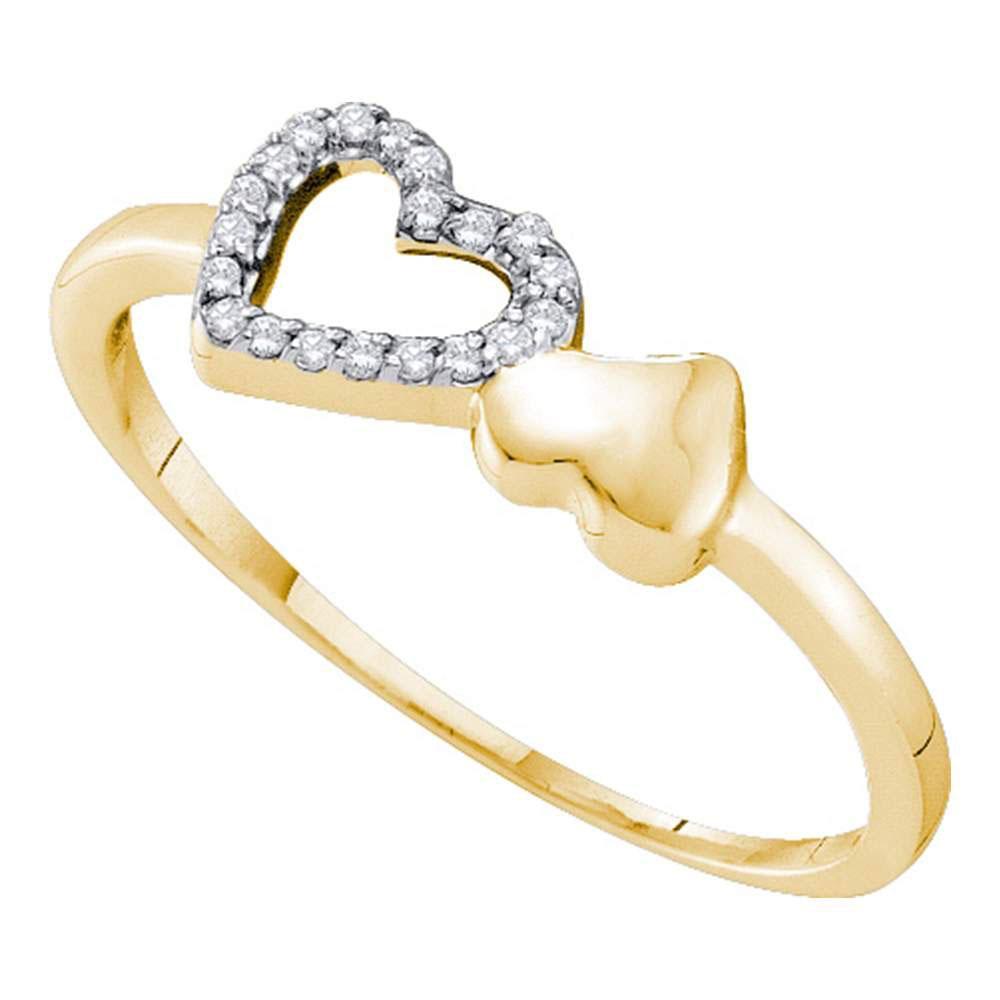 Diamond Sloender Double Heart Ring 10kt Yellow Gold