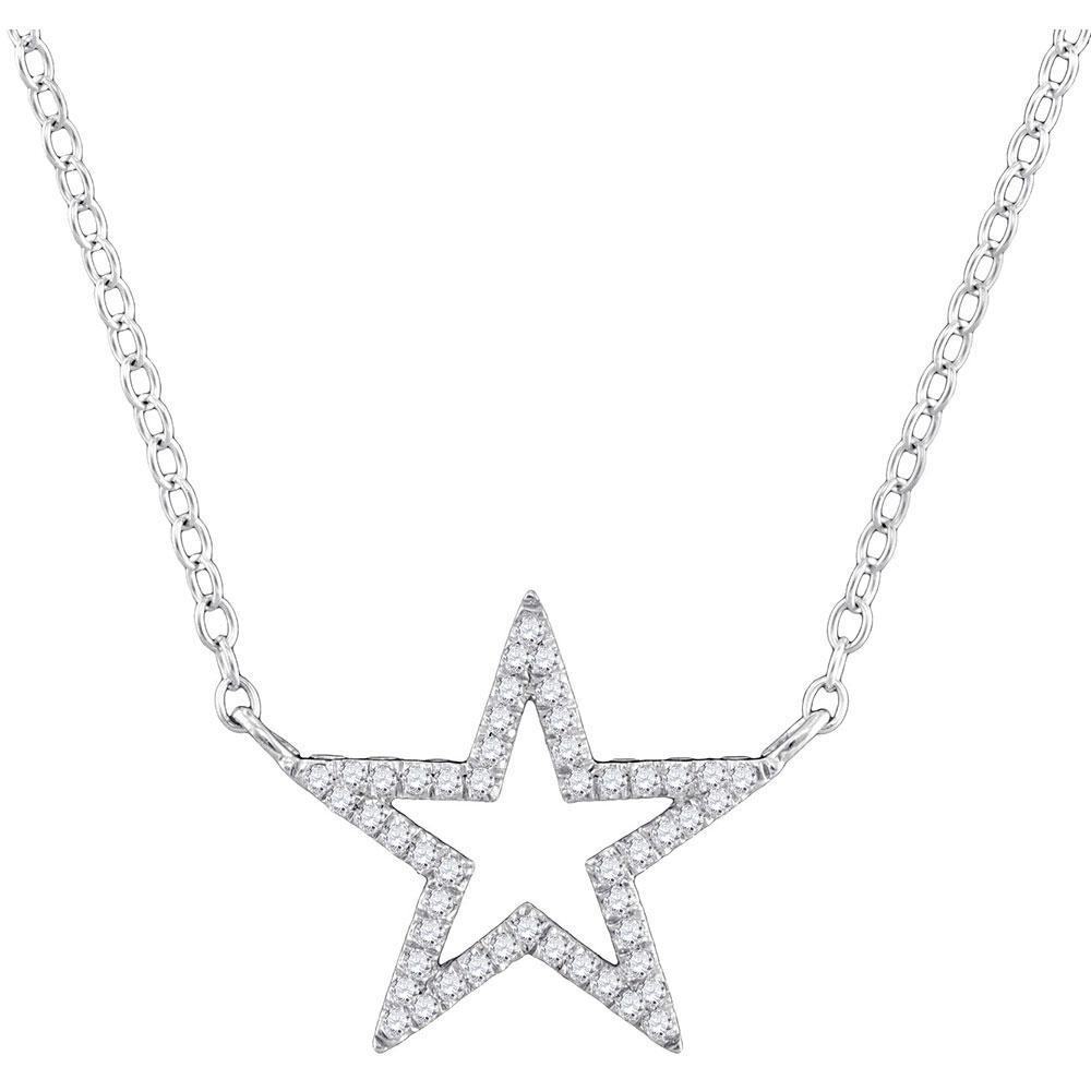 Diamond Star Outline Pendant 10kt White Gold