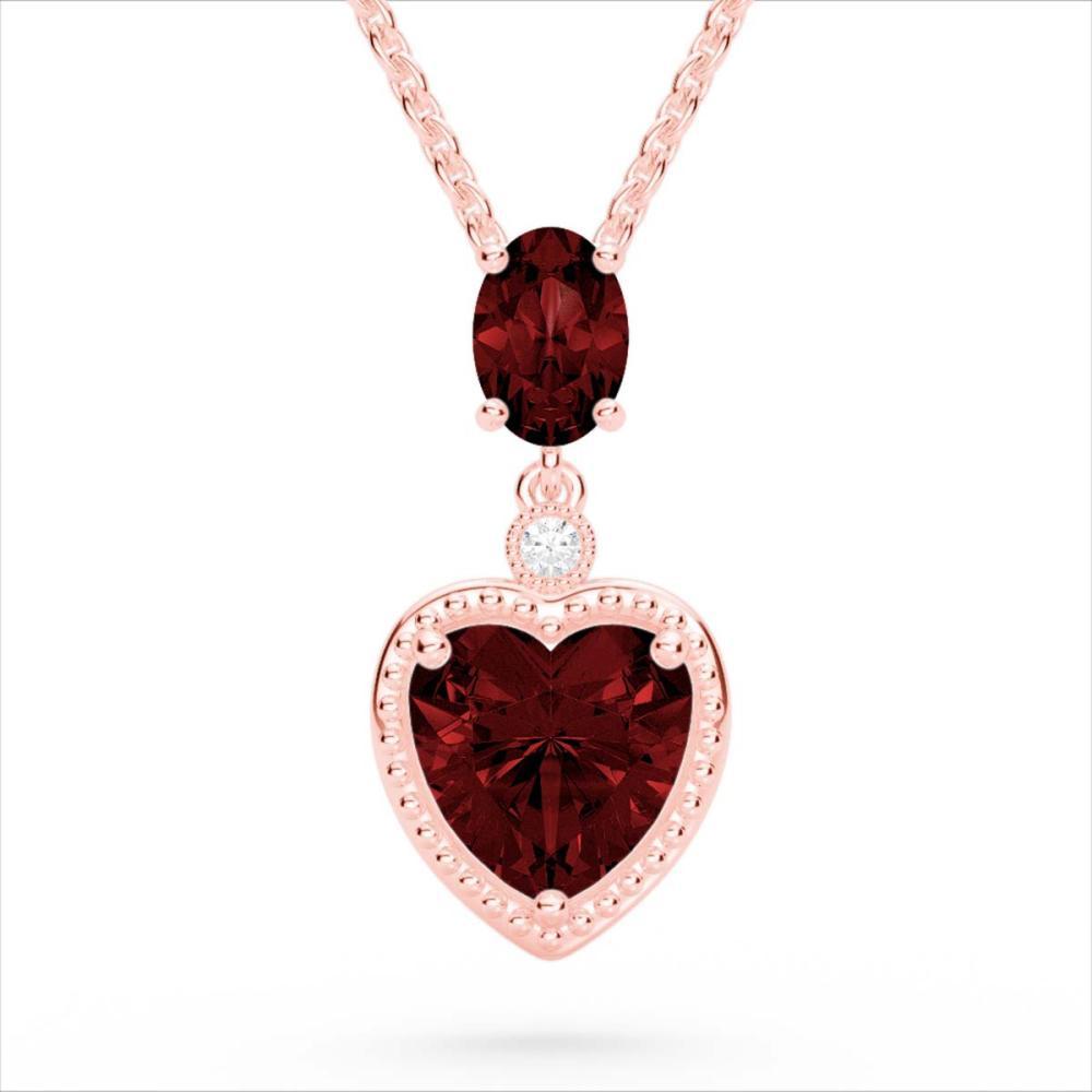 4 CTW Genuine Garnet & SI1-SI2 Diamond Heart Necklace 10K Rose Gold