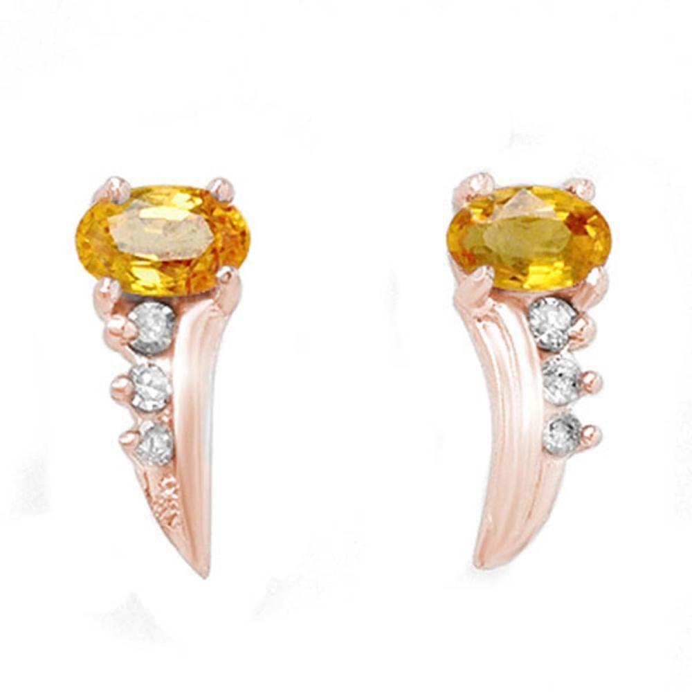 0.80 CTW Genuine Yellow Sapphire & Diamond Earrings 14K Rose Gold