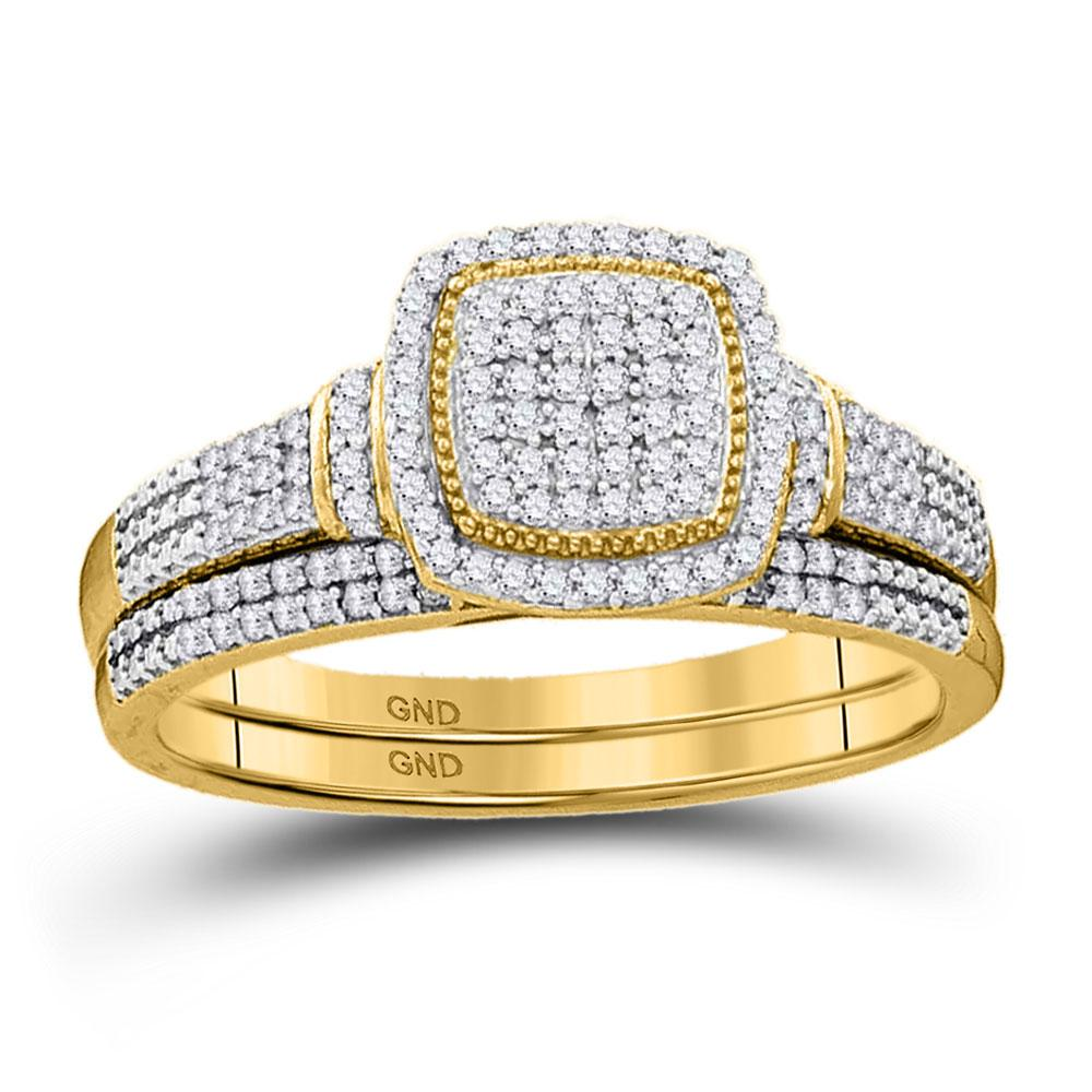 Diamond Square Cluster Bridal Wedding Engagement Ring 10kt Yellow Gold