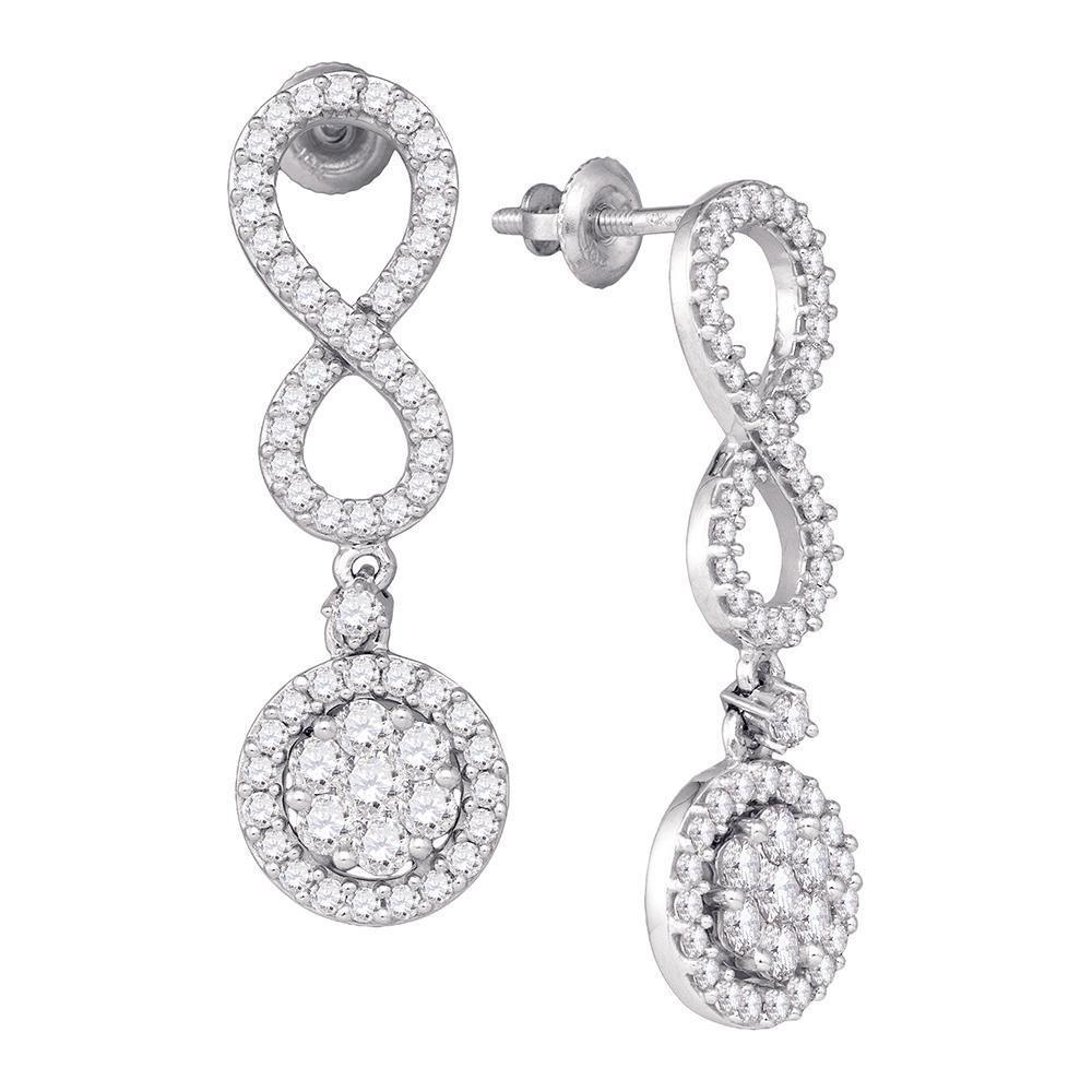 Diamond Cluster Dangle Infinity Earrings 10kt White Gold