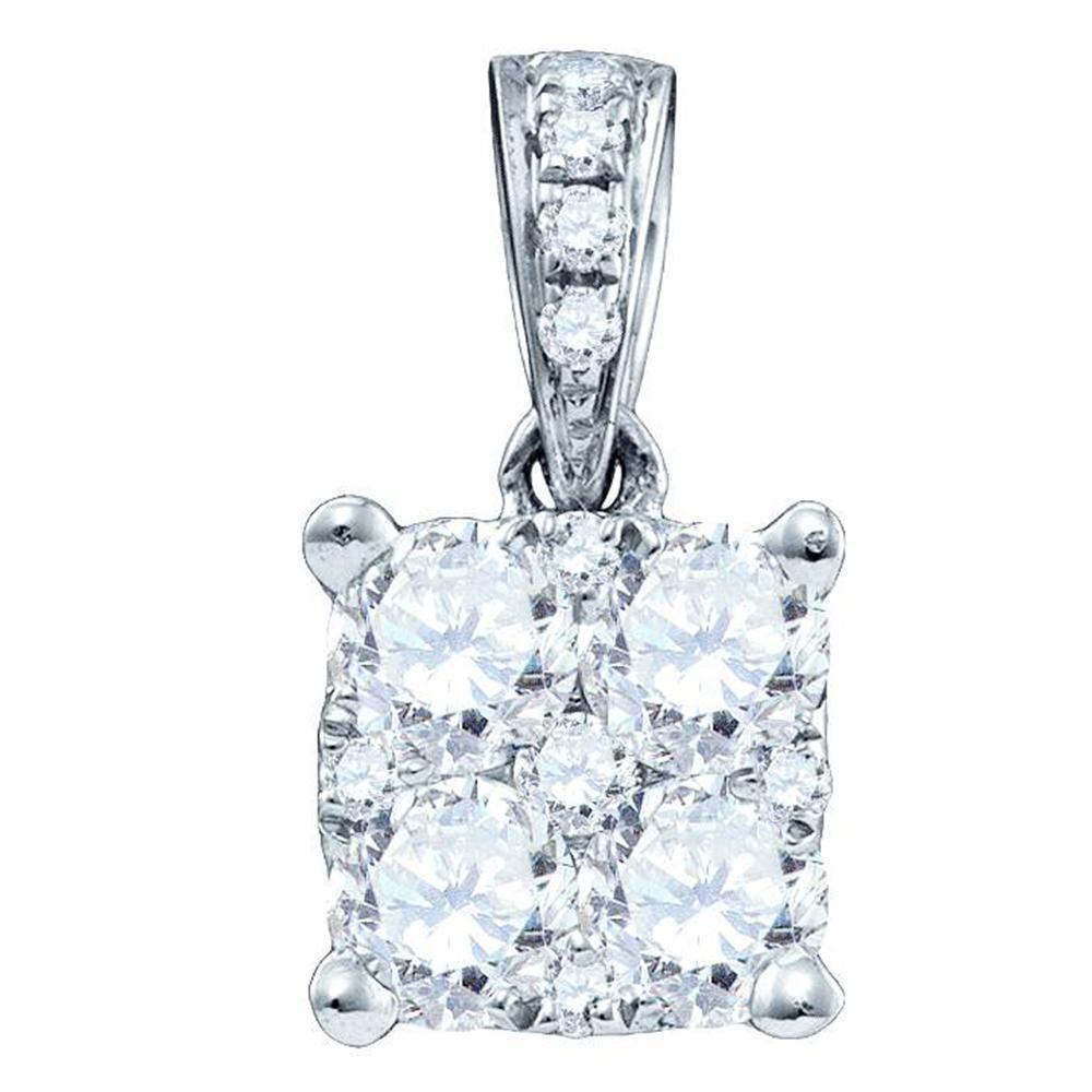 Diamond Square-shape Cluster Pendant 18K White Gold