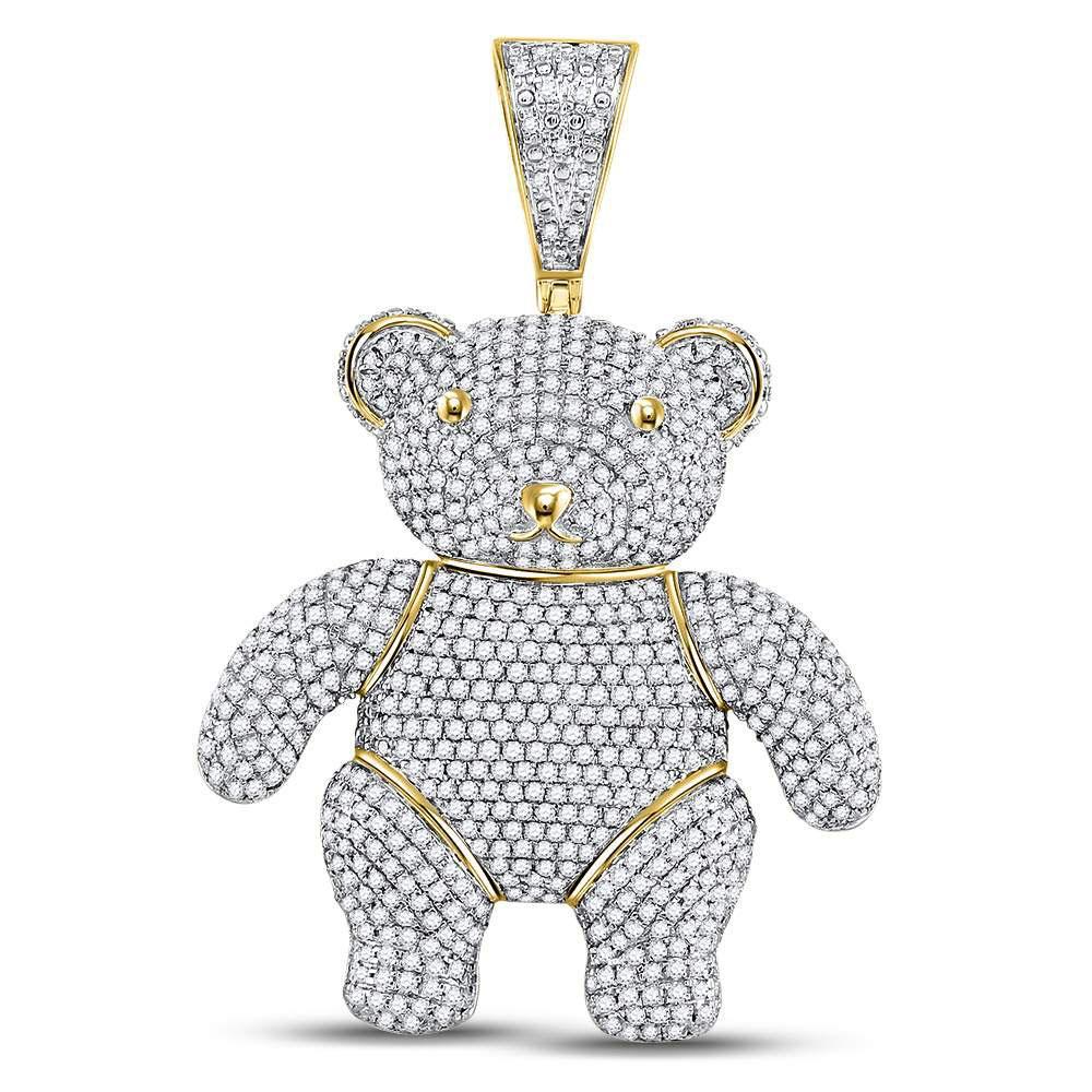 Mens Diamond Teddy Bear Charm Pendant 10kt Yellow Gold