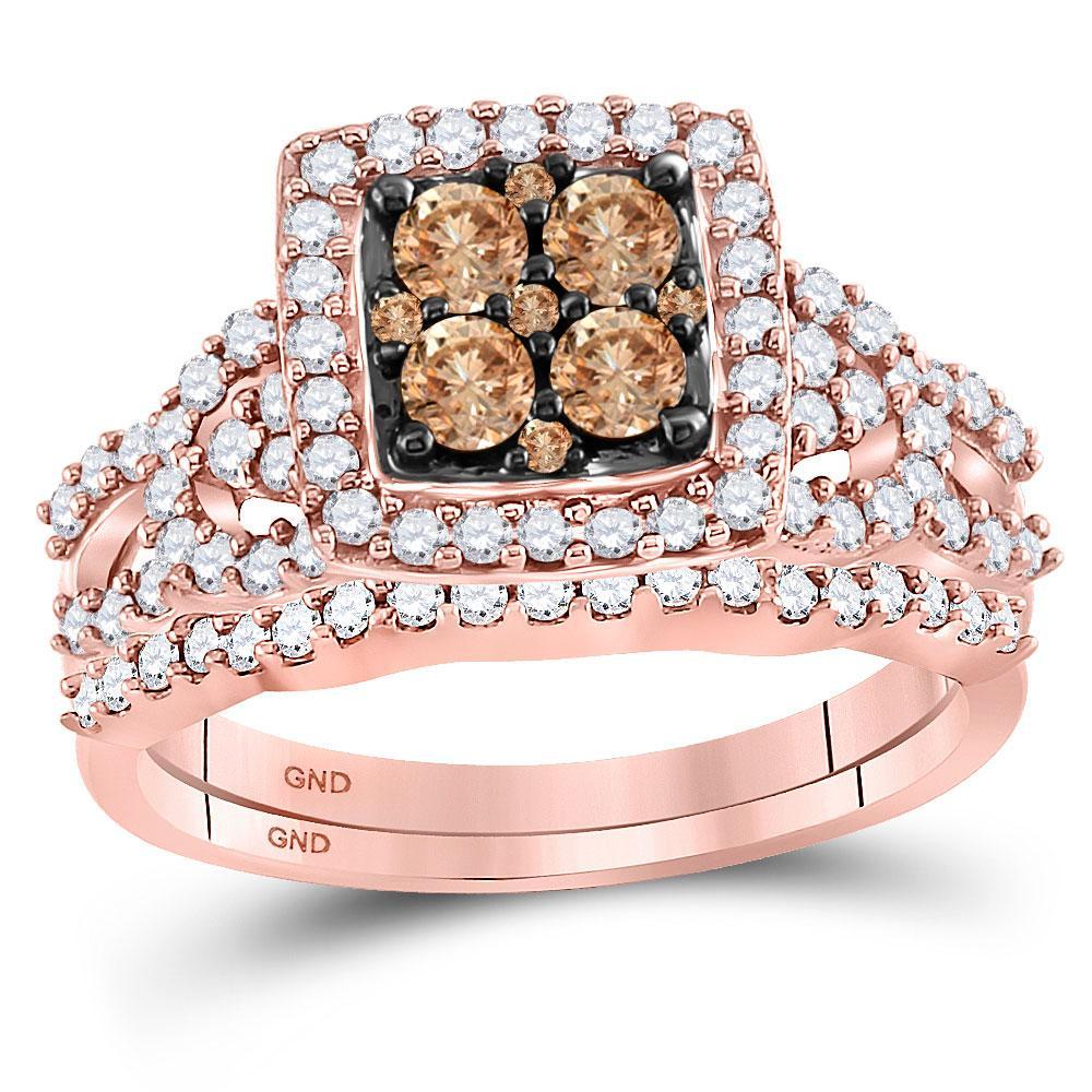 Brown Diamond Bridal Wedding Engagement Ring 10kt Rose Gold