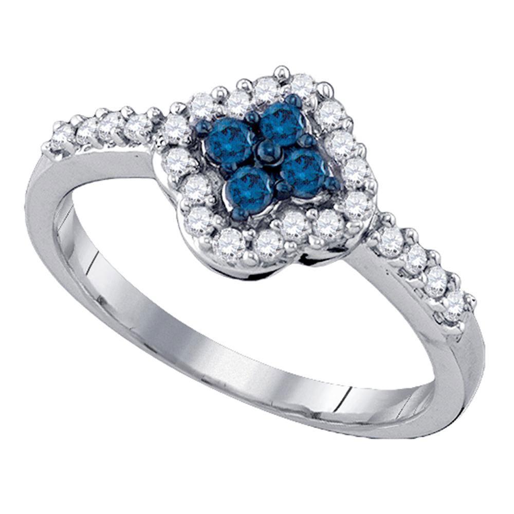 Blue Color Enhanced Diamond Cluster Ring 10kt White Gold