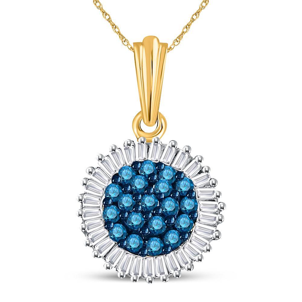 Blue Color Enhanced Diamond Cluster Pendant 10kt Yellow Gold