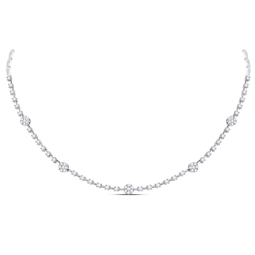 Diamond Cluster Luxury Necklace 14kt White Gold