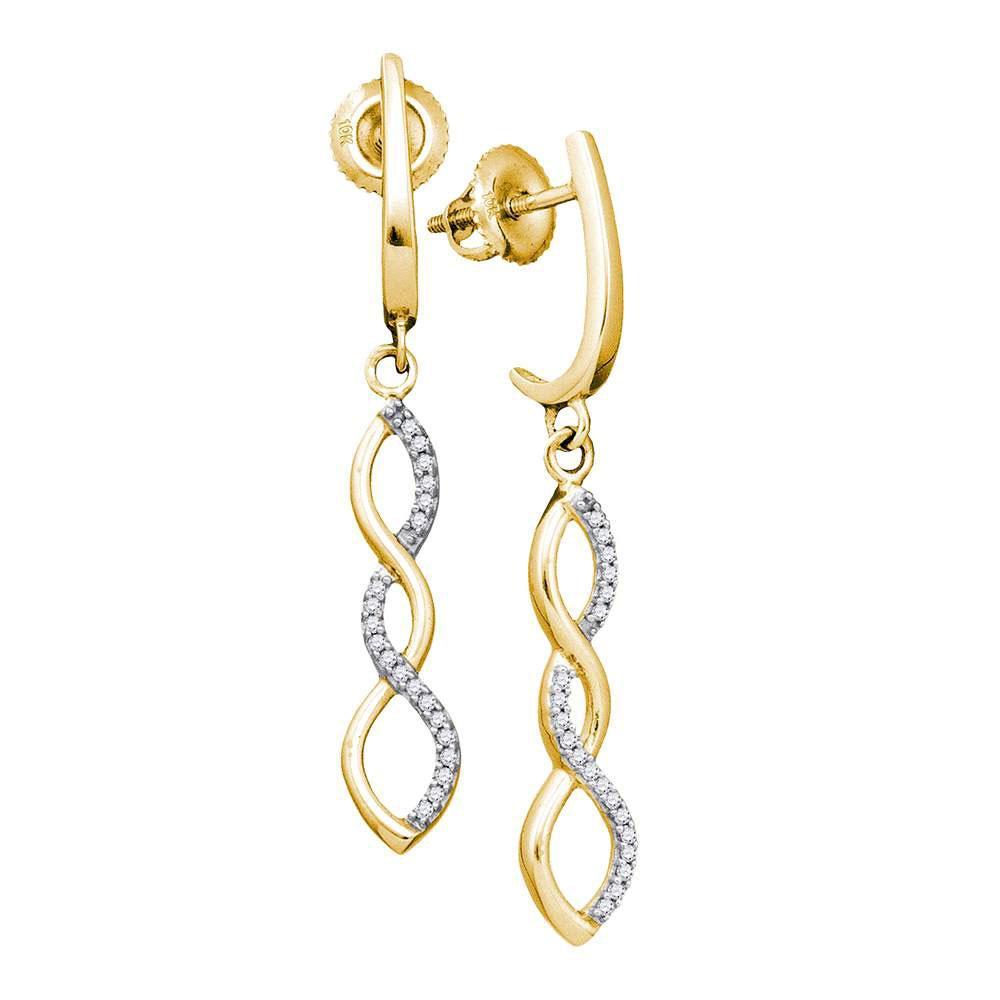 Diamond Infinity Dangle Earrings 10kt Yellow Gold