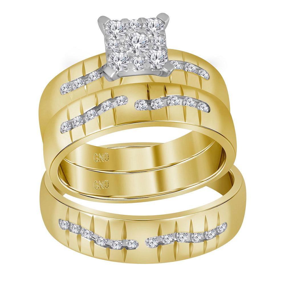 His & Hers Diamond Square Cluster Matching Bridal Wedding Ring 14kt Yellow Gold