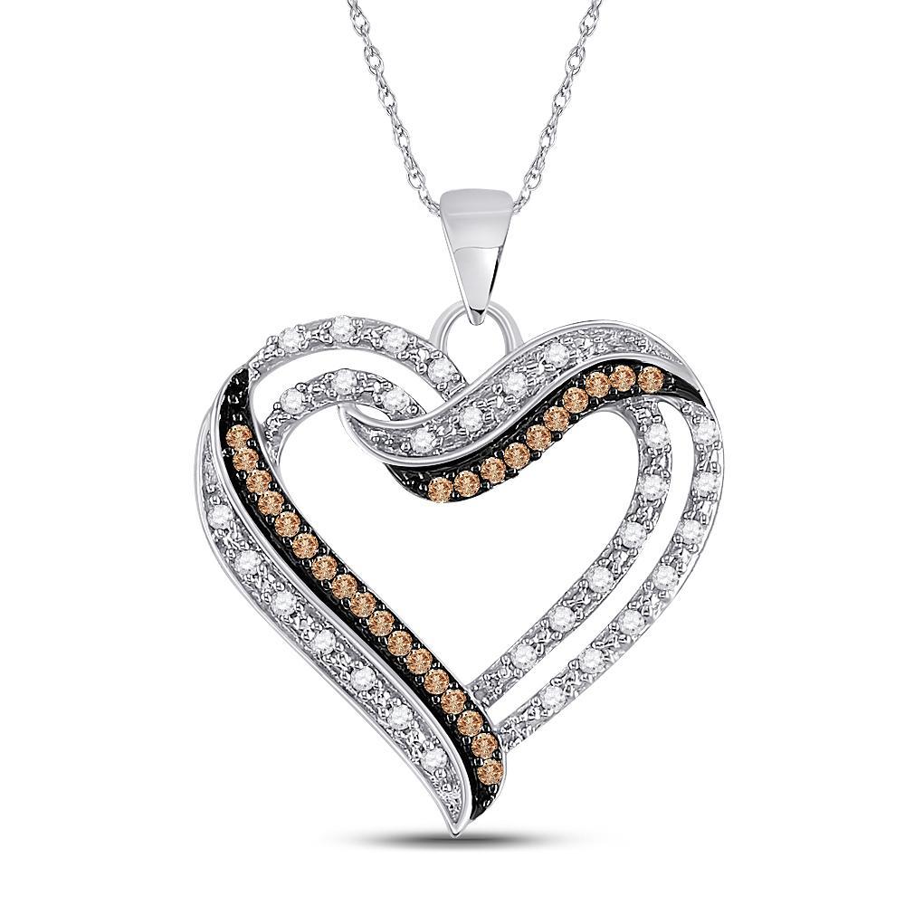 Brown Diamond Heart Pendant 10kt White Gold