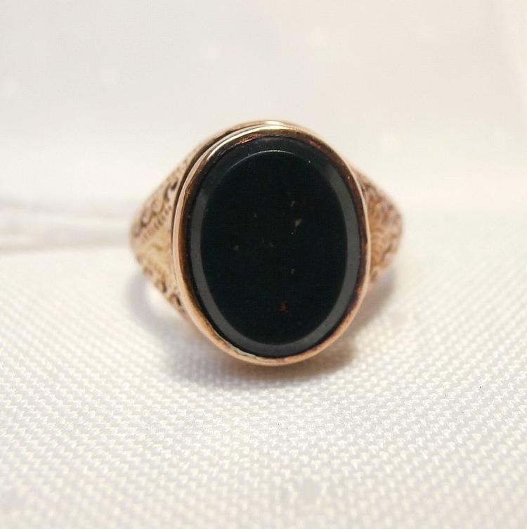 14Kt Bloodstone Ring with Filigree Detail