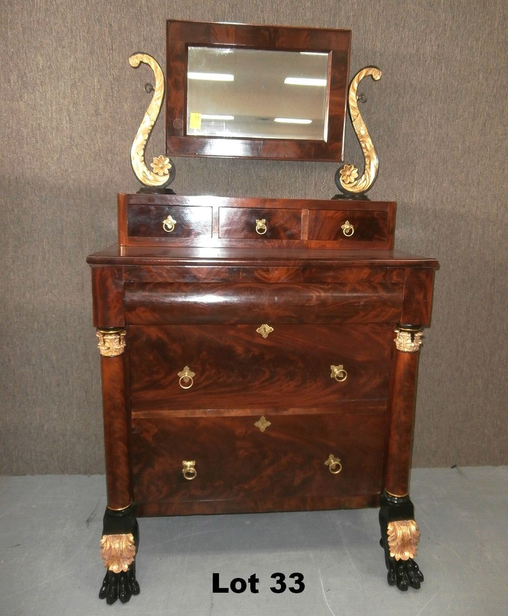 Federal 3 Over 3 Dresser With Mirror And Gold Gilding - Dressers & Vanities For Sale At Online Auction Buy Modern