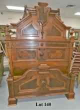 VERY ORNATE HIGH STYLE VICTORIAN WALNUT BED WITH BURLED DETAIL