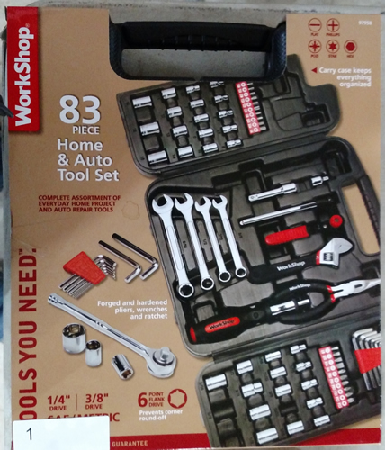 Lot 1: WorkShop 83 pc. Home and Auto tool set