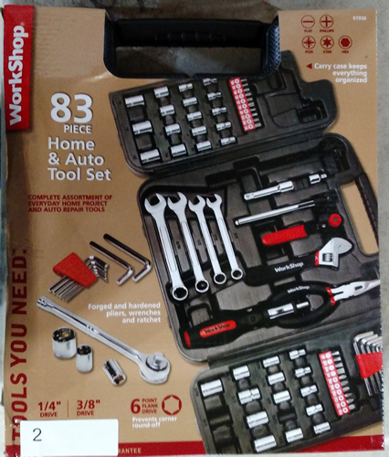Lot 2: WorkShop 83 pc. Home and Auto tool set