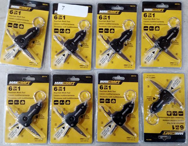 Lot 7: (8) Maxcraft 6 in 1 Keychain Multi-tools