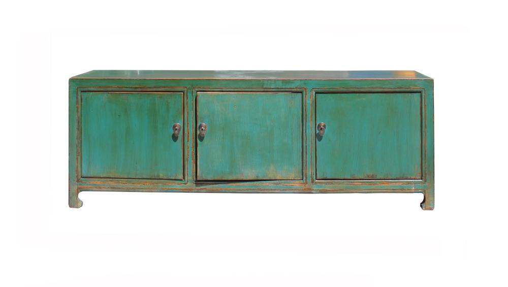 Distressed Rustic Teal Green Blue Lacquer Low Console Table Cabinet Cs4132