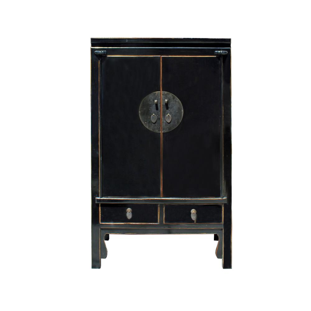 Chinese Distressed Black Tall Wedding Armoire Wardrobe TV Cabinet Cs4172