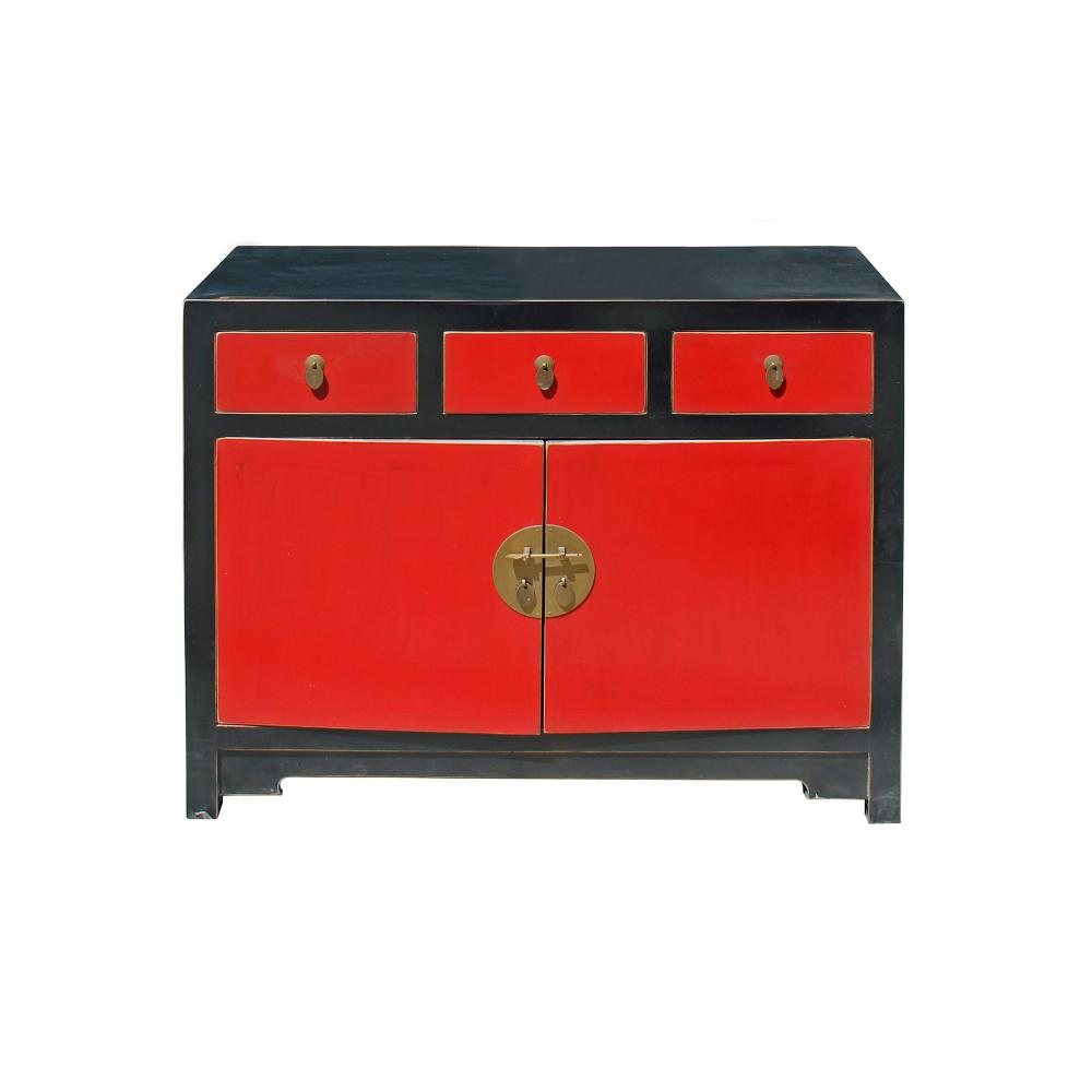 Oriental Black U0026 Red Lacquer Mid Side Table Foyer Cabinet Cs4175