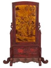 Qing - A Wood Red-Glazed Carved and 16 Louhan Painted Screen