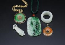 A Group Of Five Piece Jadeite