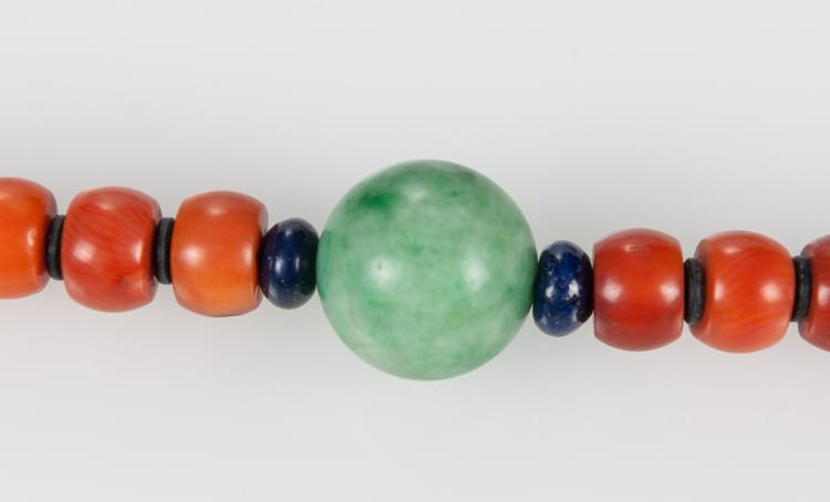 Lot 1084: Oing-A Coral Beads with Jadeite, Lapis, Crystal Chaozhu