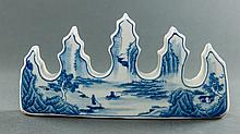 Qing. A Blue And White 'Landscape, Calligraphy' Brush Holder